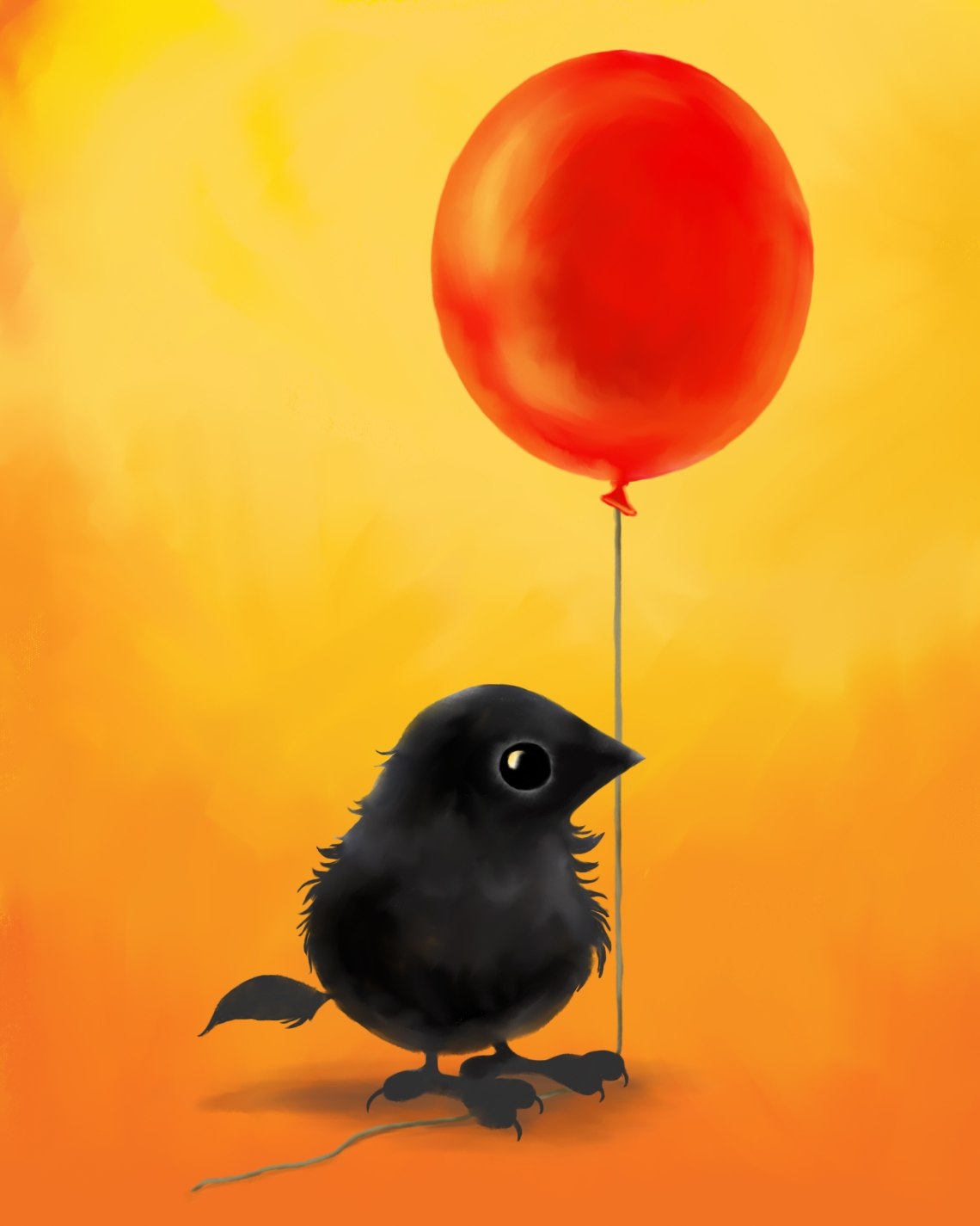 Poe with a balloon