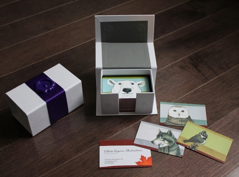 business cards and box