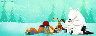 winter fox and bunny#1