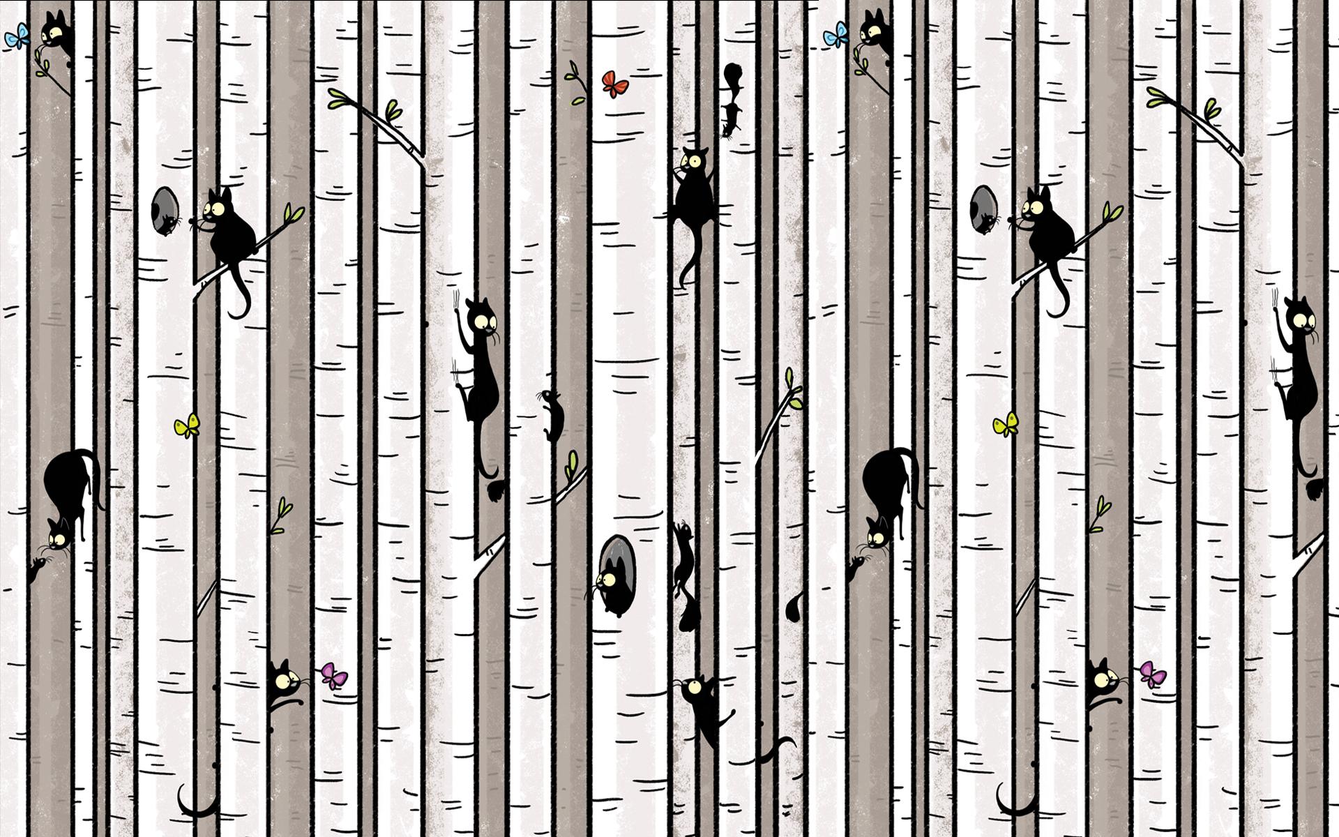 Fabric tree pattern - Birch Tree Wallpaper_ws