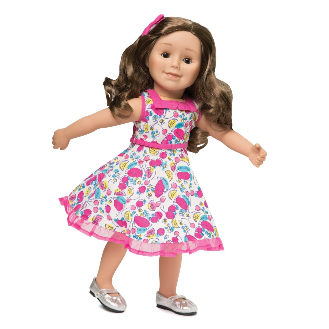 KM151_Standing_Ovation_white_50s_inspired_dress_with_multi-coloured_fruit_print_and_Pink_abow_hairclip_for_all_maplelea_dolls