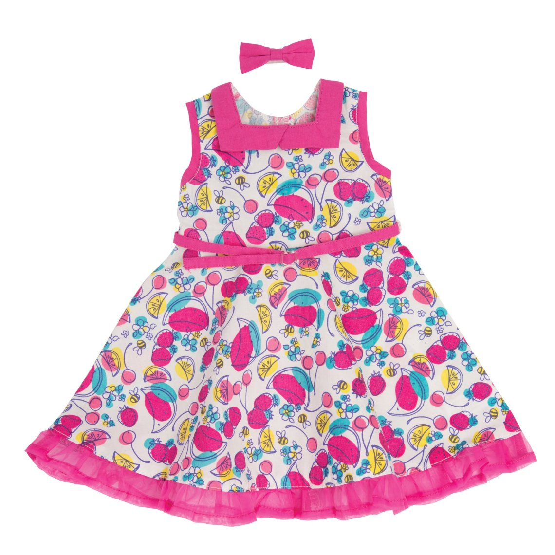 KM151_Standing_Ovation_white_50s_inspired_dress_with_multi-coloured_fruit_print_and_Pink_abow_hairclip_for_all_maplelea_dolls_flat